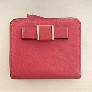 PRE-OWNED Coach Darcy Pink Bow Small Wallet